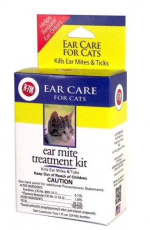 1oz MIRACLE CARE R7M EAR MITE TREATMENT KIT FOR CATS